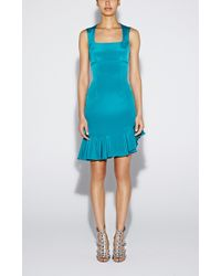 Nicole Miller Asymmetrical Ruffle Crepe Dress teal - Lyst