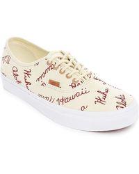 Vans Ecru Authentic California Letters Sneakers beige - Lyst