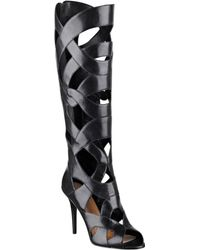 Nine West Dewey Caged Leather Boots - Lyst