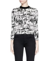 Alexander McQueen | Camouflage Strip Intarsia Cropped Bouclé Sweater | Lyst