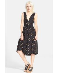 Free People 'Wildflowers' Sleeveless Midi Dress black - Lyst
