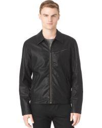 Calvin Klein Textured Fauxleather Bomber Jacket - Lyst