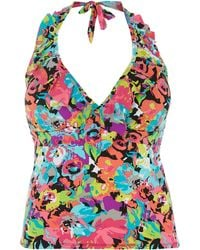 Kenneth Cole Halter Underwired Tankini - Lyst