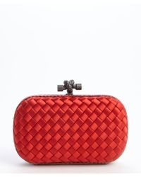 Bottega Veneta Intercciato Satin Jute Knot Clutch - Lyst