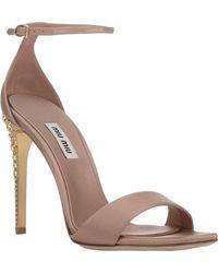 Miu Miu Embellished-heel Ankle-strap Sandals - Lyst