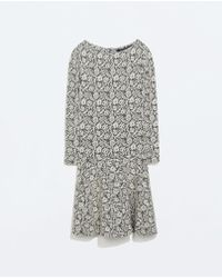 Zara Jacquard Flared Dress - Lyst