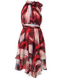 Matthew Williamson Palm Silk Chiffon Ruffle Hem Dress - Lyst