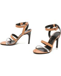 McQ by Alexander McQueen Cleo Ankle Strap Sandals - Caramel/Silver - Lyst