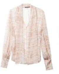 Alexander McQueen Ruffle-Print Silk Blouse - Lyst