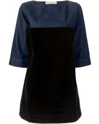 Marni Denim and Velvet Dress - Lyst