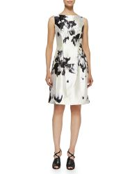 Lela Rose Printed Silk-Twill Dress - Lyst