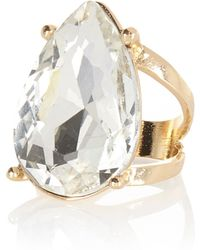 River Island Gold Tone Teardrop Gem Stone Statement Ring - Lyst