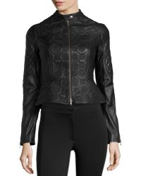 Marchesa Voyage Embroidered Leather Jacket W Peplum - Lyst