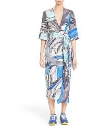 Phelan - Brushstroke Print Silk Wrap Dress - Lyst