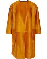 Rochas Collarless Haircalf Coat - Lyst