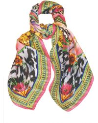 Matthew Williamson Tropical Leopard Print Dna Silk Scarf multicolor - Lyst