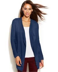 Inc International Concepts Petite Fringed Open-front Cardigan - Lyst