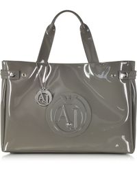 Armani Jeans Large Faux Patent Leather Tote - Lyst