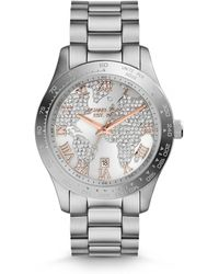 Michael Kors Mid-Size Silver Color Stainless Steel Layton Glitz Watch - Lyst
