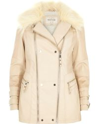 River Island Cream Leather-Look Faux Fur Collar Jacket - Lyst
