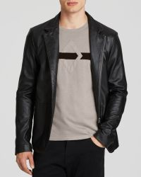 Armani Zip-Front Leather Jacket - Lyst