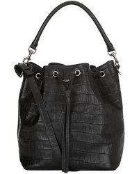 Saint Laurent Emmanuelle Croc Bucket Bag - Lyst