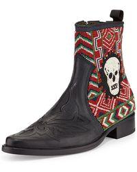 Donald J Pliner Jestin Beaded-skull Chelsea Boot - Lyst