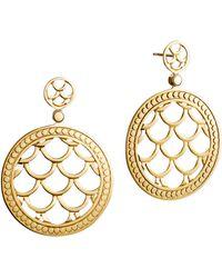 John Hardy Naga 18k Gold Post Drop Earrings - Lyst