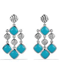 David Yurman Sculpted Cable Chandelier Earrings with Turquoise - Lyst