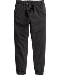 H&M Twill Joggers black - Lyst