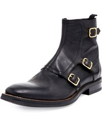 Alexander McQueen Triplemonkstrap Leather Boot - Lyst