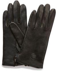 Tory Burch - Tech Logo Leather Glove - Lyst