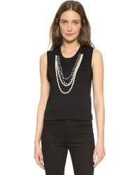 Vera Wang Collection - Embellished Muscle Tank - Black - Lyst