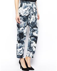 Asos Pants in Painted Floral Print - Lyst