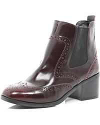 River Island Red Square Toe Chelsea Boot - Lyst