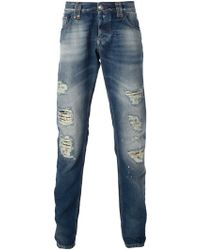 Philipp Plein Distressed Slim Jeans - Lyst
