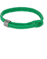 Bottega Veneta Adjustable Double Thin Strap Bracelet - For Women green - Lyst