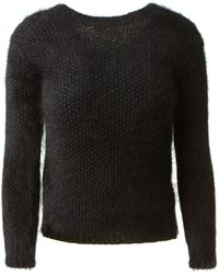 Saint Laurent Black Angora Knitwear - Lyst