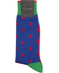 Duchamp Contrast Spot Stretch-cotton Socks - Lyst