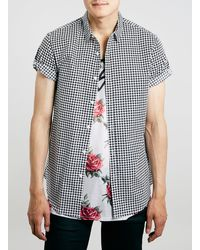 Topman Dogtooth Print Short Sleeve Smart Shirt - Lyst