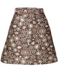 alice + olivia Jessa High Waist Short Skirt gold - Lyst