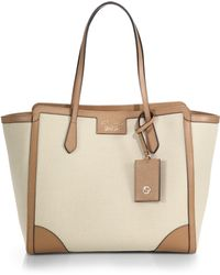 Gucci Swing Medium Canvas Tote beige - Lyst