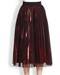 ABS By Allen Schwartz - Metallic-pleat Midi Skirt - Lyst