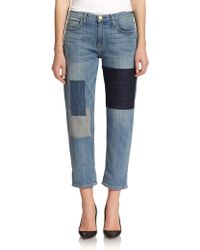 Current/Elliott Distressed Patchwork Boyfriend Jeans blue - Lyst