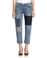 Current/Elliott Distressed Patchwork Boyfriend Jeans - Lyst
