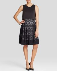 Adrianna Papell - Dress - Sleeveless Bodice Overlay & Flared Lace Skirt - Lyst