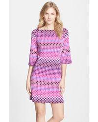 Donna Morgan Print Jersey Shift Dress - Lyst