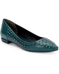 Kenneth Cole Roland Studded Leather Point Toe Flatsgreen - Lyst