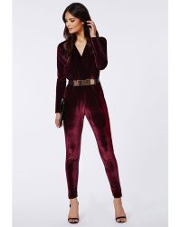 Missguided Liz Luxe Velvet Wrap Jumpsuit Oxblood - Lyst