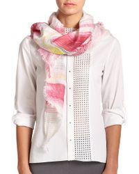 Elie Tahari Mindy Printed Linen/Silk Scarf pink - Lyst